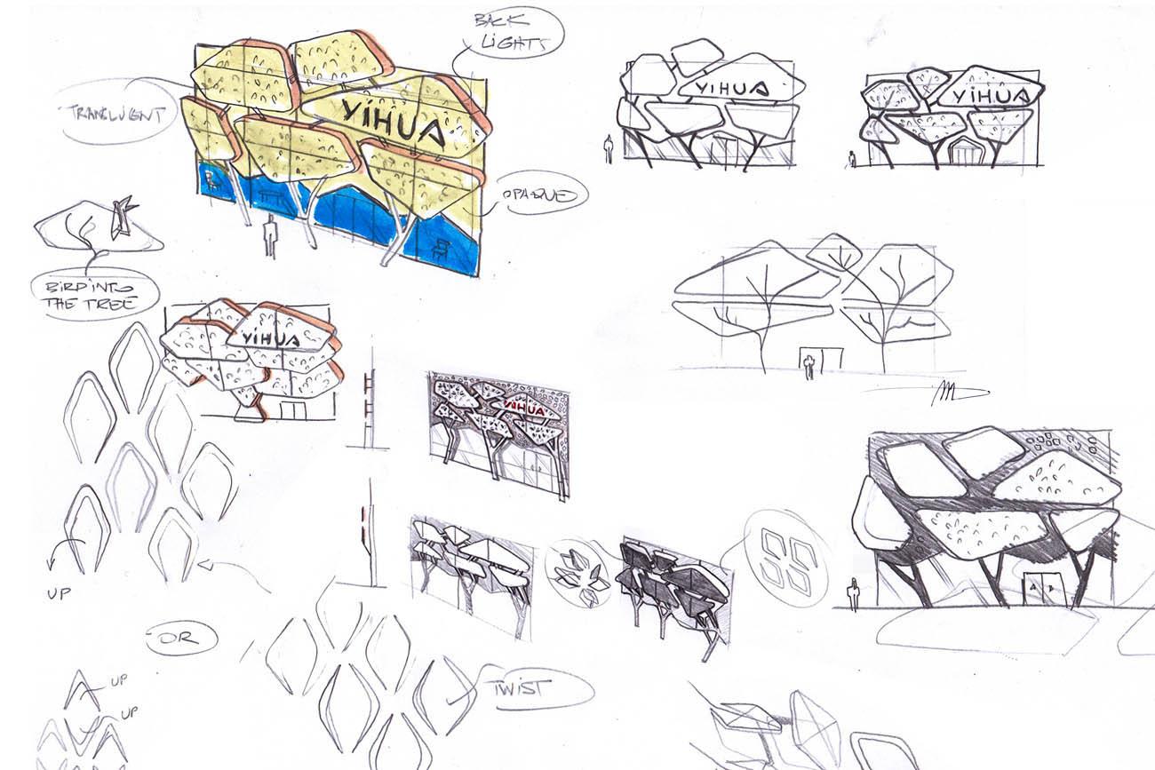 商场建筑手绘卡通